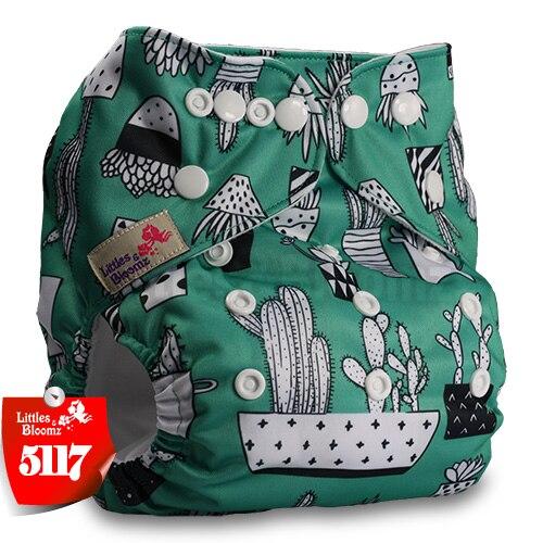 Littles& Bloomz детские моющиеся многоразовые подгузники из настоящей ткани с карманом для подгузников, чехлы для подгузников, костюмы для новорожденных и горшков, один размер, вставки для подгузников - Цвет: 5117
