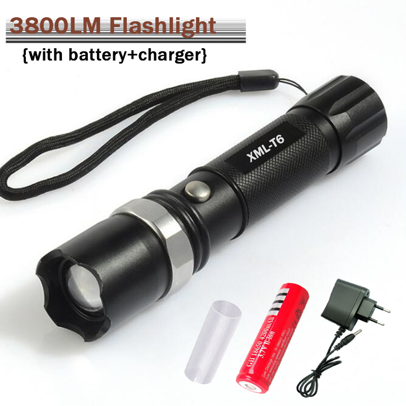 E17 XM-L T6 3800LM Aluminum Waterproof Zoomable CREE LED Flashlight Torch light for 18650 Rechargeable Battery or AAA usa eu hot e17 cree xm l t6 3800lm waterproof zoomable cree led flashlight torch light by rechargeable 18650 or aaa battery
