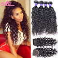 7A Virgin Hair Water Wave with Closure Peruvian Virgin Hair 4 Bundles with Closure Human Hair Water Wave Weave with Lace Closure