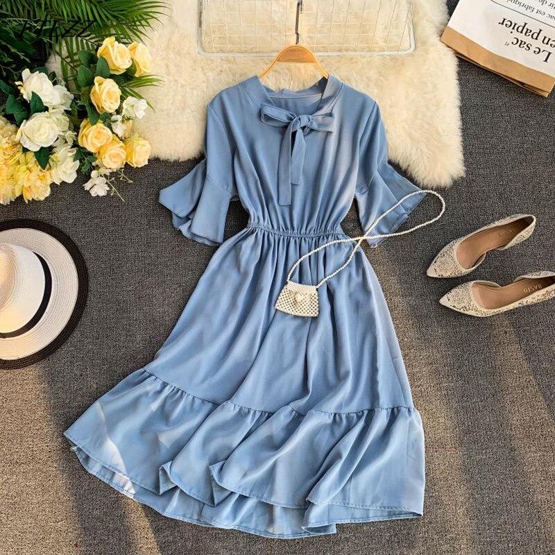FTLZZ 2019 New Women Sweet Ruffle Dress Summer Flare Sleeve Bow Casual Ball Gown Midi Dress Vestidos 27