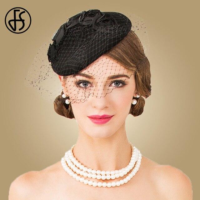 FS señora Fascinator DE BODA negro de lana sombrero Pastillero con velo invierno  elegantes de la 0bc509adf48