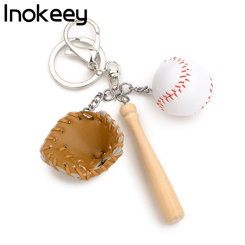 Inokeey Alloy Orange Brown Color Leather Baseball Key Ring Men Women Metal Wooden Key Chain Boys Girls Bag Key Accessories