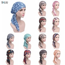 Fashion Women Print Flower Scarf Turban Head Wrap Caps Hijab Headscarf Muslim Hat Turban Chemo Hat Beanie Bandanas Long Tail New