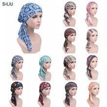 แฟชั่นผู้หญิงพิมพ์ดอกไม้ผ้าพันคอหัวหมวกHijab HeadscarfมุสลิมหมวกTurban Chemoหมวกหมวกผ้าพันคอยาวใหม่