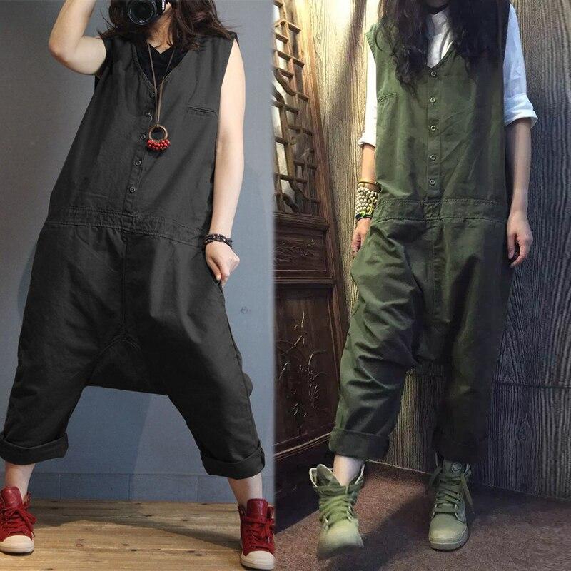 2019 ZANZEA Linen Overalls For Women Jumpsuits Plus Size Female Sleeveless Casual Drop Crotch Rompers Button Pant Woman Pantalon