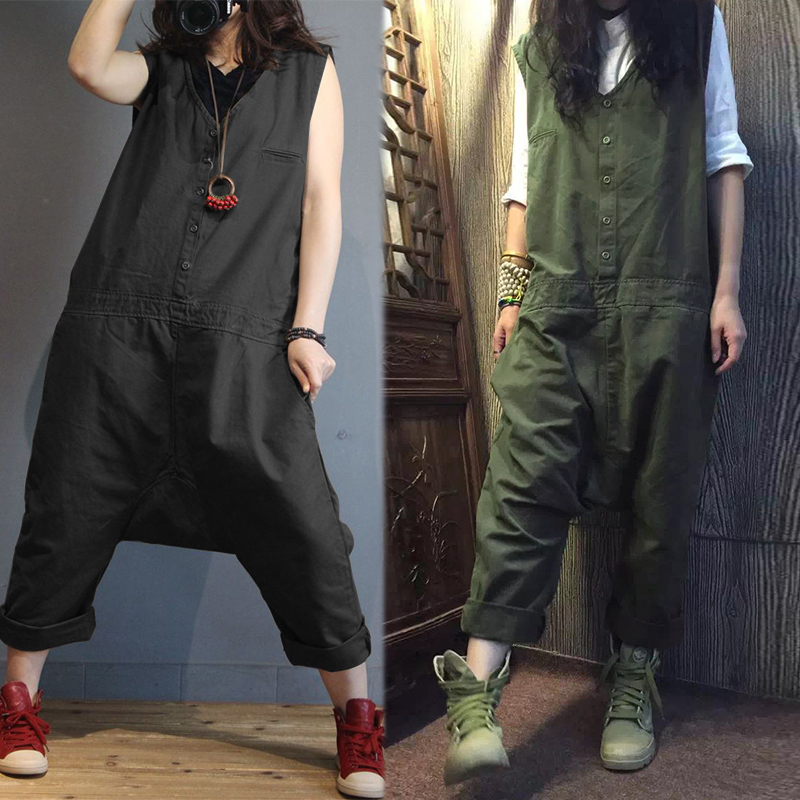 2019 ZANZEA Linen Overalls For Women   Jumpsuits   Plus Size Female Sleeveless Casual Drop Crotch Rompers Button Pant Woman Pantalon