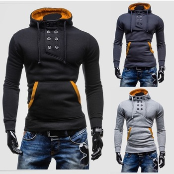ZOGAA 2019 Fashion Double-Breasted Mens Cotton Pullover Sweatshirt Male Long-Sleeved Slim Brushed Hoodie Men Casual Sweatshirts
