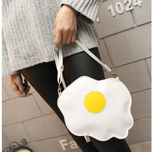1 Piece Women Gilrs Cute Egg Sweetie Shape Bolsa Fashion Student Soft Thin PU Leather Crossbody Messenger Bag