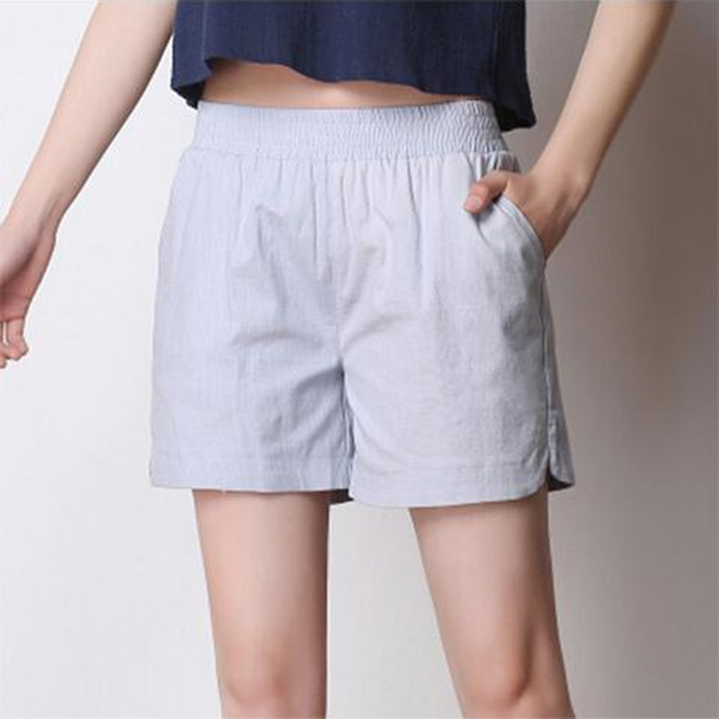 Women Elastic Wasit Shorts Summer Wide Leg Shorts High Waist Casual Suit Shorts White Women Short Pants Ladies Shorts(China)