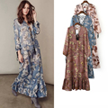 [CHICEVER] 2017 Autumn Lace Print Long Sleeve V-neck Loose Perspective Pullovers Fishtail Dress Women New Bohemian Style