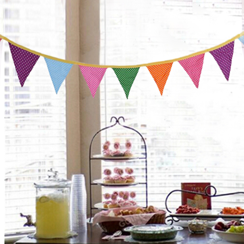 Pink Cotton Bunting Banner Triangle Flags Wedding Party Decor Photo Props