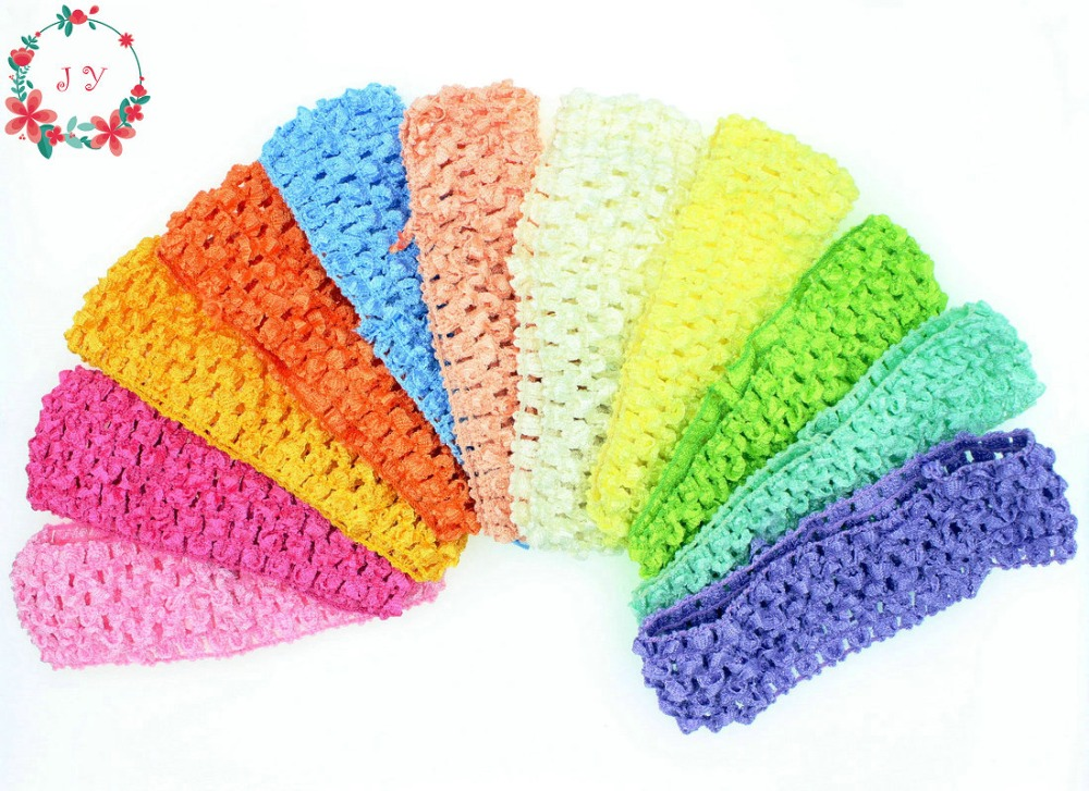 30pcs/lot Girls Stretchy Elastic Headband Plush Elastic Hair Bands Accessories Crochet Lace Band Party Supply 36 Colors On Sale