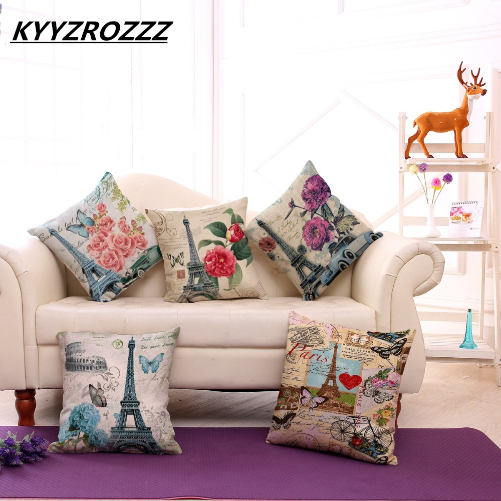 45x45cm Cotton Linen Cushion Cover Retro Vintage Franch Paris Eiffel Tower Pillow Cover Car Sofa Throw Pillowcase Home Decor