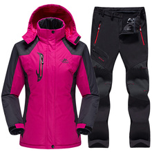 Waterproof Ski Suit Women Ski Jacket Pants Female Winter Outdoor Skiing Snow Snowboard Fleece Jacket Pants Snowboard Sets 2018 new lover men and women windproof waterproof thermal male snow pants sets skiing and snowboarding ski suit men jackets