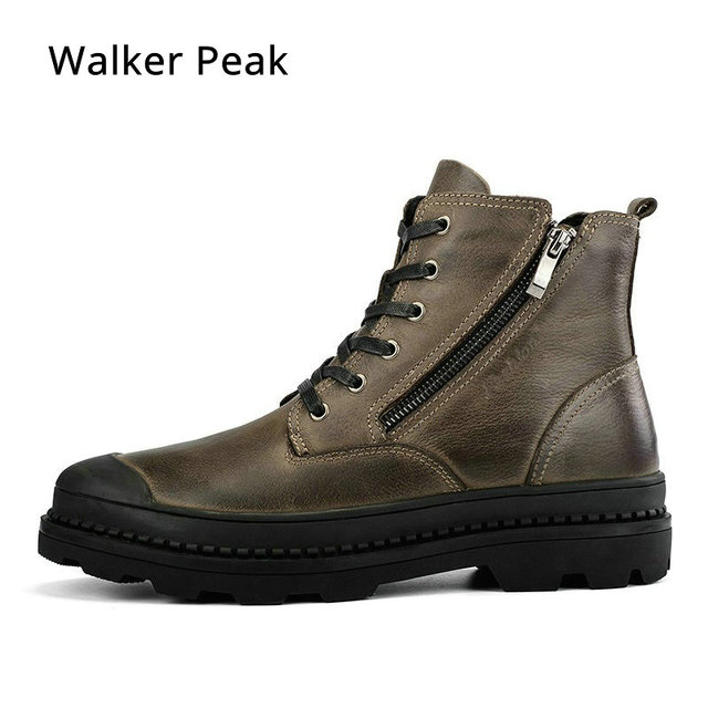 Motorcycle Mens Winter Shoes Genuine Leather Men Ankle Boots size 38-47 Brand Rubber Snow Boots Casual Shoes For Men Walker Peak
