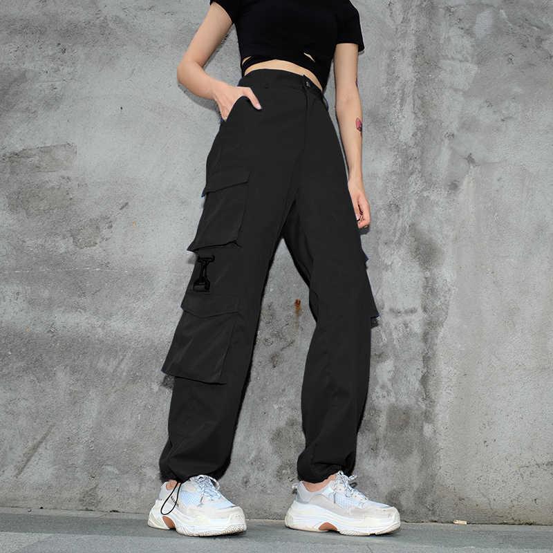 Weekeep/лоскутные брюки-карго с высокой талией; женские свободные уличные брюки-карандаш с карманами; модные женские брюки до щиколотки в стиле хип-хоп