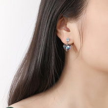 Náušnice SRDCE Swarovski kryštál 3farby Drop Earrings CRYSTAL HEART