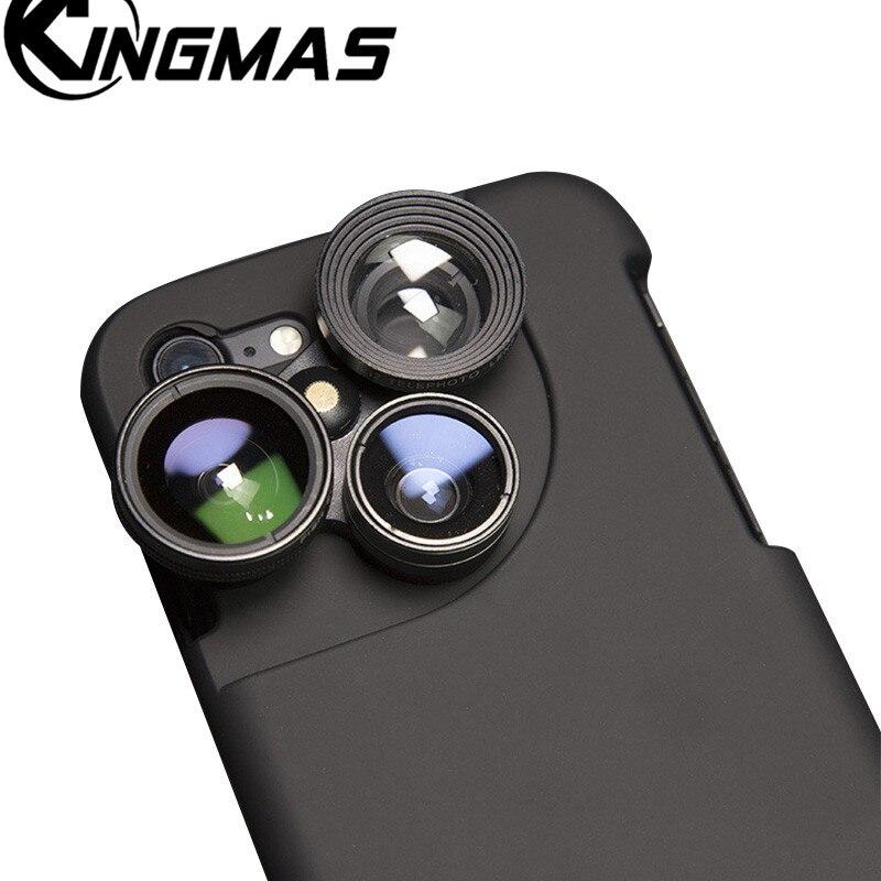 4 in 1 Handy Lensese Cases Voller Abdeckung Für iPhone X 8 7 6 S 6 Plus Weitwinkel Makro Fisheye Telefon Linsen Einzigartige fall