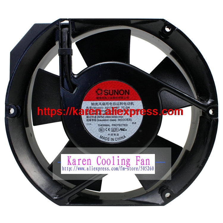 Free shipping New Original SUNON A2175-HBT TC.GN 17CM 172*172*51MM AC220V capacitor axial flow fan original s a n j u sj1738ha2 172 150 38mm 220vac 0 31a axial fan