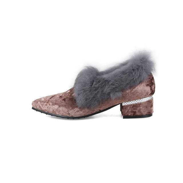5d8eaf25044a placeholder Brand New Winter Sales Pink Brown Women Casual Pumps Lady Furry  Shoes Med Chunky Heels YP182