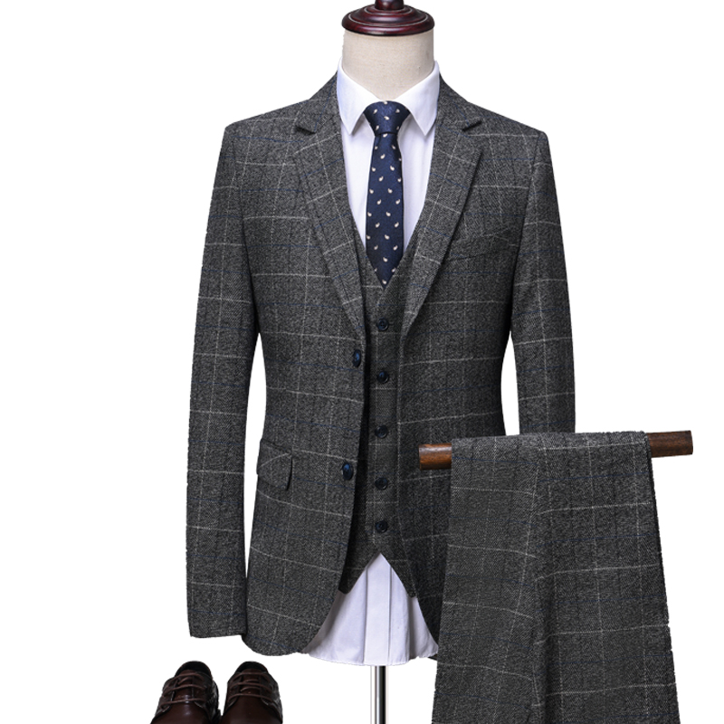 OSCN7 Grey Plaid Tailor Made Suits Men 3 Piece Gentleman Business Wedding Custom Made Mens Suit Blazer Customize 9212-1