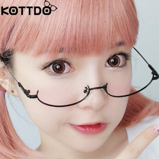 100b5b2b1 KOTTDO Luxury Half Frame Lensless Glasses Women Men cute Metal Glasses  Frame Male Female eyeglasses eyewear