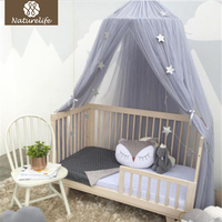 Naturelife Round Baby Bed Mosquito Net Dome Hanging Cotton Bed Canopy Mosquito Net Curtain For Hammock