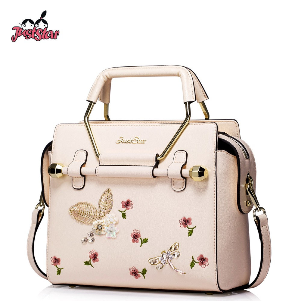 JUST STAR Women's PU Leather Handbags Ladies Fashion Embroidery Beading Tote Sho