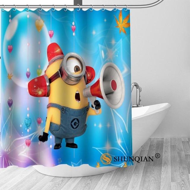 High Quality Custom Minion Shower Curtain Polyester Fabric Bathroom Hooks Mildew Resistant Decor