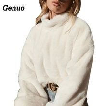 Genuo long sleeve turtleneck white soft plush sweater women 2018 autumn winter casual thick warm faux fur pullover tops