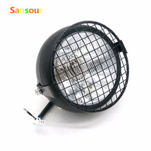 Sansour Motos Accessories 6.4″ headlight motorcycle Grill Vintage Motorcycle Side Mount Headlight Cafe Racer Bobber Old School