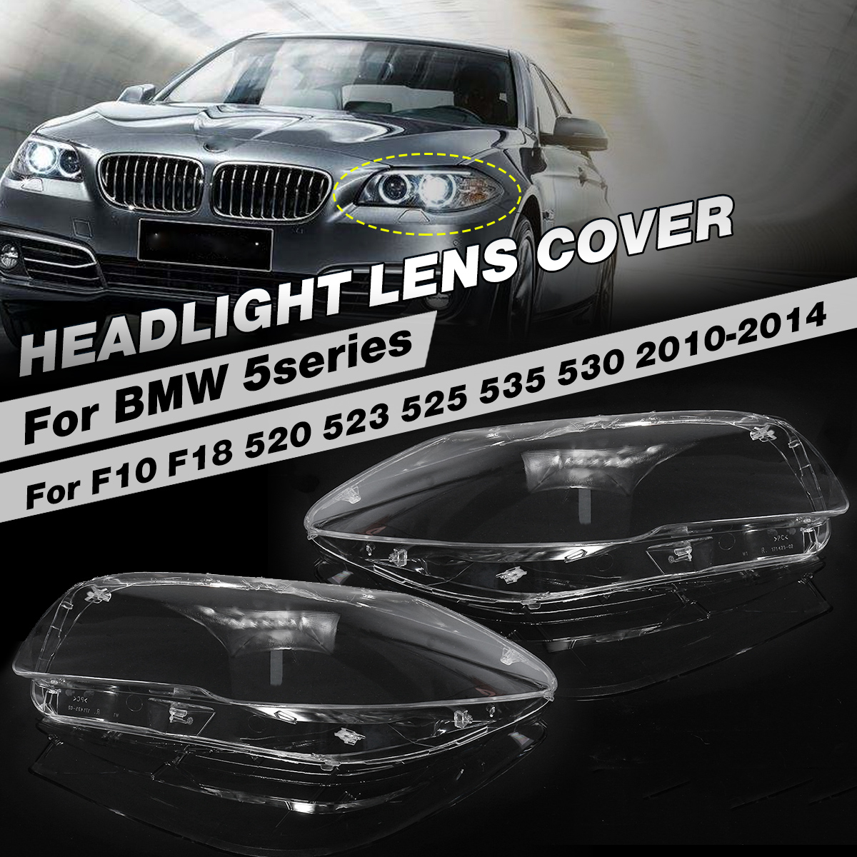 1 Pair High Quality Headlight Clear Lens Cover Front Left + Right Headlamp Shell For BMW F10 F18 520 523 525 535 530 20102015