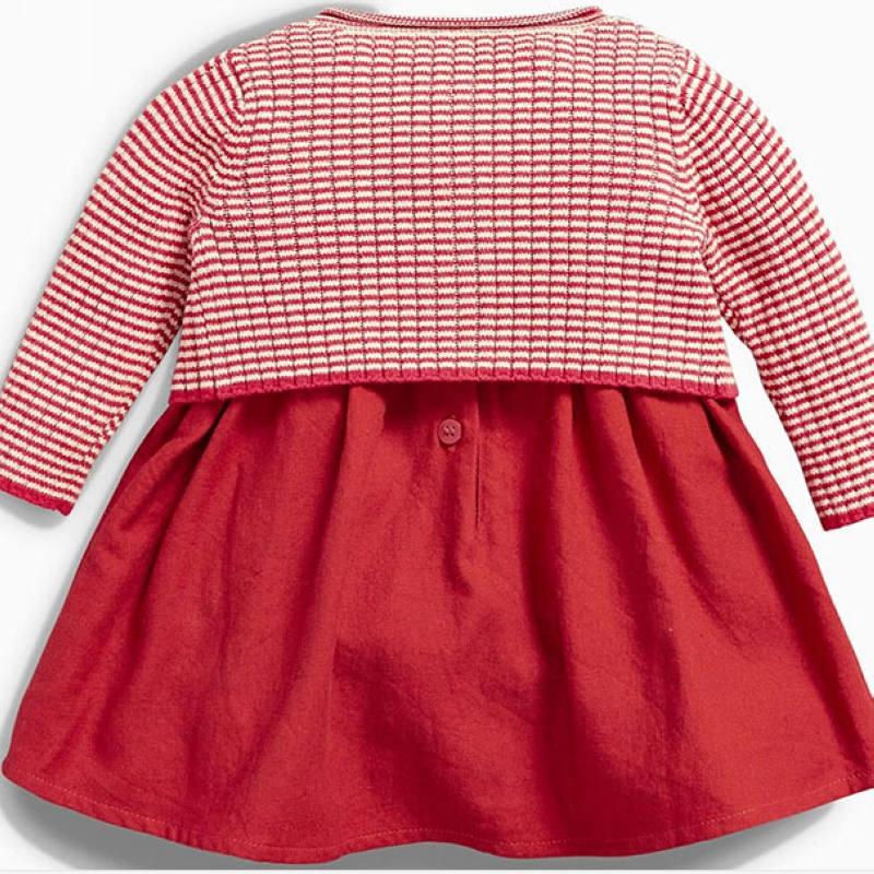 New Baby Girl Dress Red Knitted Sweater Cardigan Cotton Dress High ...