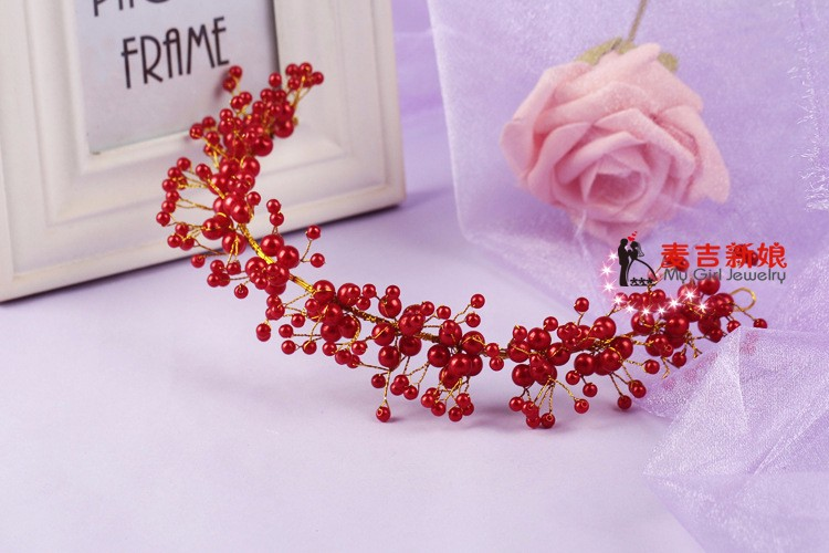 Korea-Style-Beauty-Elegant-Pearls-Bride-Decoration-Wedding-Brideal-Hats-Flower-Bride-Veil-White-Short-Flowers (3)