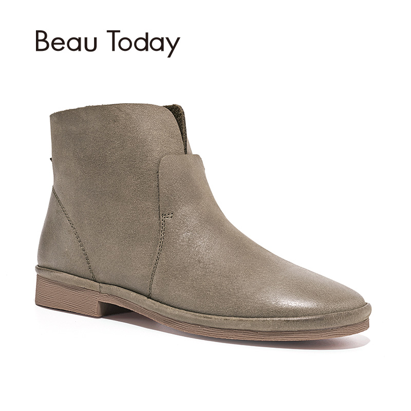 BeauToday Ankle Boots Women Top Quality Genuine Leather Brand Boot Winter Autumn Lady Shoes Handmade 03064 [krusdan]british style men autumn winter boots solid casual genuine leather retro boots falts brand red wine male ankle boot