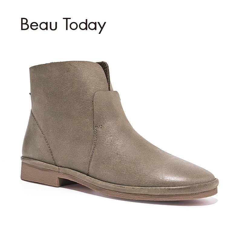 BeauToday yarım çizmeler Kadınlar En Kaliteli Hakiki Deri Marka Çizme Kış Sonbahar Bayan Ayakkabı El Yapımı 03064