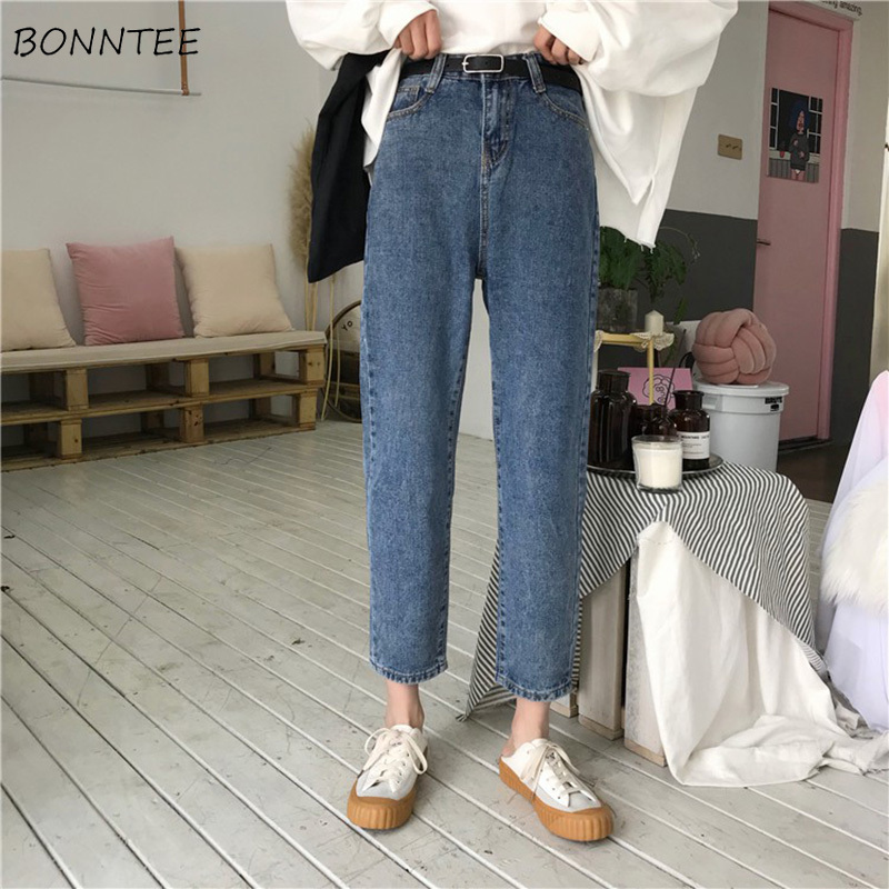 Jeans Women Loose Retro High Waist Straight Ankle-length Womens Jean Korean Style All-match Zipper Fly Casual Simple Daily Chic