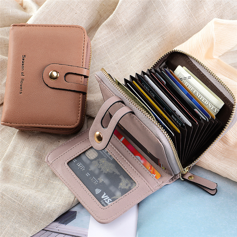 Wallet Short Purse Business-Card-Holder Zipper/hasp Blue/brown Female/male Women/men