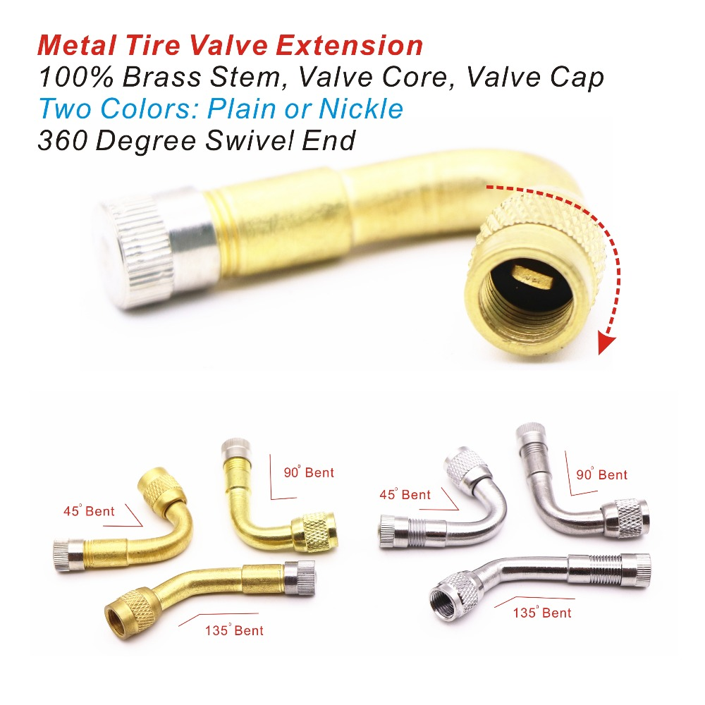 1pc Metal Valve Extension Motorcyle Motorbike Tyre Valve Adaptor For Car/Motorbike/Bike Inflation 100% Brass Stem 3 Bent 2 Color