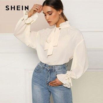 SHEIN Ruffle Tie คอและ Flounce Sleeve สุภาพสตรีสุภาพสตรี Elegant Tops ฤดูใบไม้ผลิผู้หญิงยืน Collar Workwear เสื้อและเสื้อ