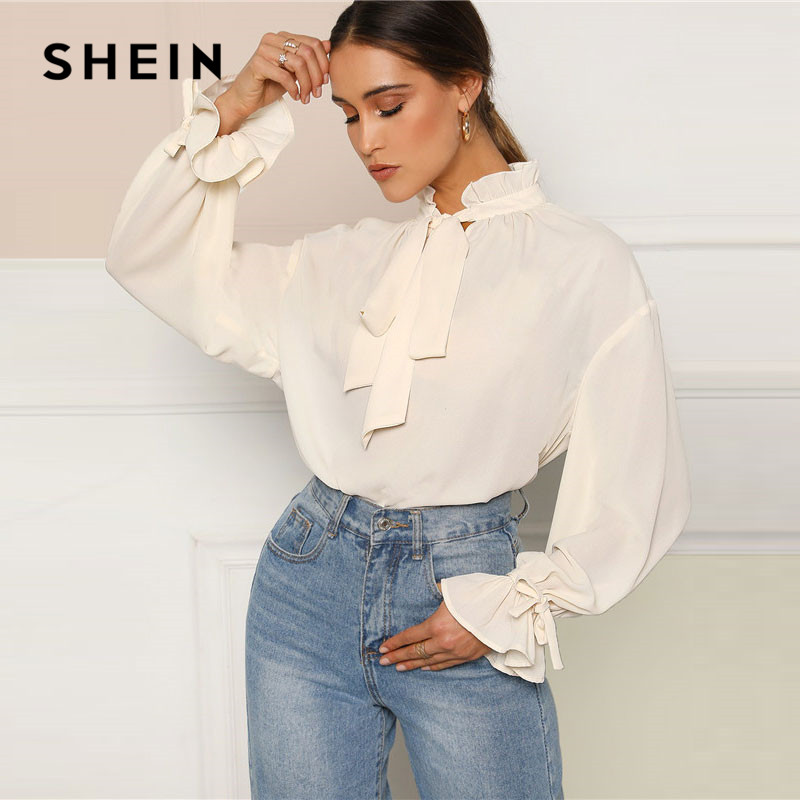 SHEIN Ruffle Tie Neck And Flounce Sleeve Solid Elegant Blouse Ladies Tops Spring Women Stand Collar Workwear Tops And Blouses