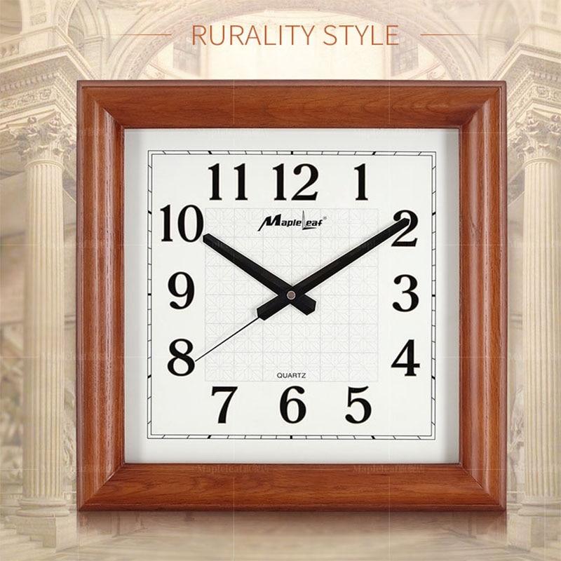 Luxury High quality Wood Square Quartz Wall Clock Modern Home Decoration Wall Watch