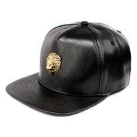 NYUK Black Snapback PU Leather Crocodile Hats Gold Lion Head King Logo Baseball Caps Hip Hop Cool Boy Girl Men Women Fashion Cap