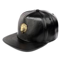 NYUK Black Snapback PU Leather Crocodile Hats Gold Lion Head King Logo Baseball Caps Hip Hop