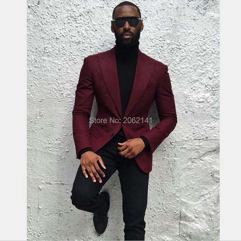 Fashion Street Style Burgundy Suit Jacket One Piece Wine Red ...