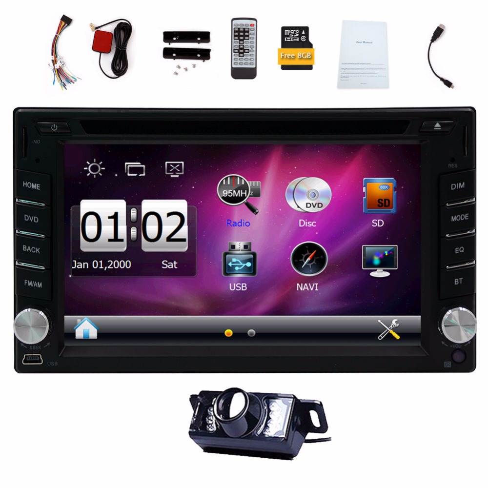 Touch Screen Car Stereo Navigation Multimedia tape recorder Bluetooth Car Radio Video Player FM AM RDS Steering Wheel control+8G two 2 din radio car dvd player gps navigation tape recorder autoradio cassette player for car radio steering wheel multimedia