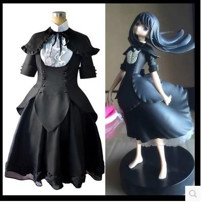 Puella Magi Madoka Magica Akemi Homura Cosplay Costume black coatume
