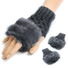 1 Pair Wool Blend Faux Rabbit Fur Women Fingerless Gloves Knitted Crochet Winter Gloves Warm Mittens Gants Femme For Lady Girls