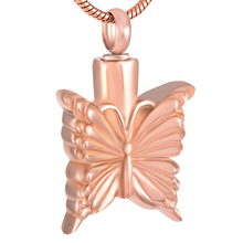 IJD9250 Stainless Steel Cremation Rose Gold Butterfly Memorial Pendant for Ashes Urns Keepsake Necklace Jewelry Women