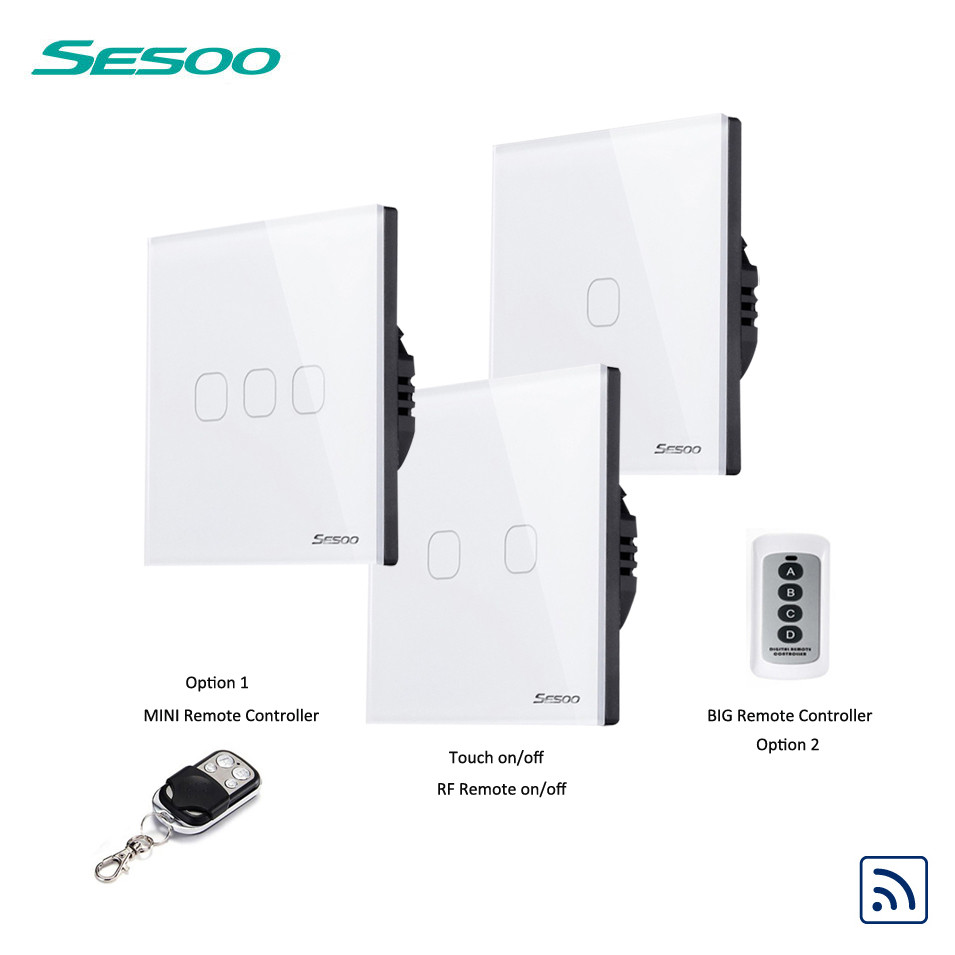 SESOO EU/UK Standard Remote Control Switch 1 2 3 Gang 1 Way, Crystal Glass Switch Panel, Remote Wall Touch Switch for Smart Home mvava eu standard 3 gang 1 way remote control light switch golden crystal glass panel touch switch wall switch for smart home